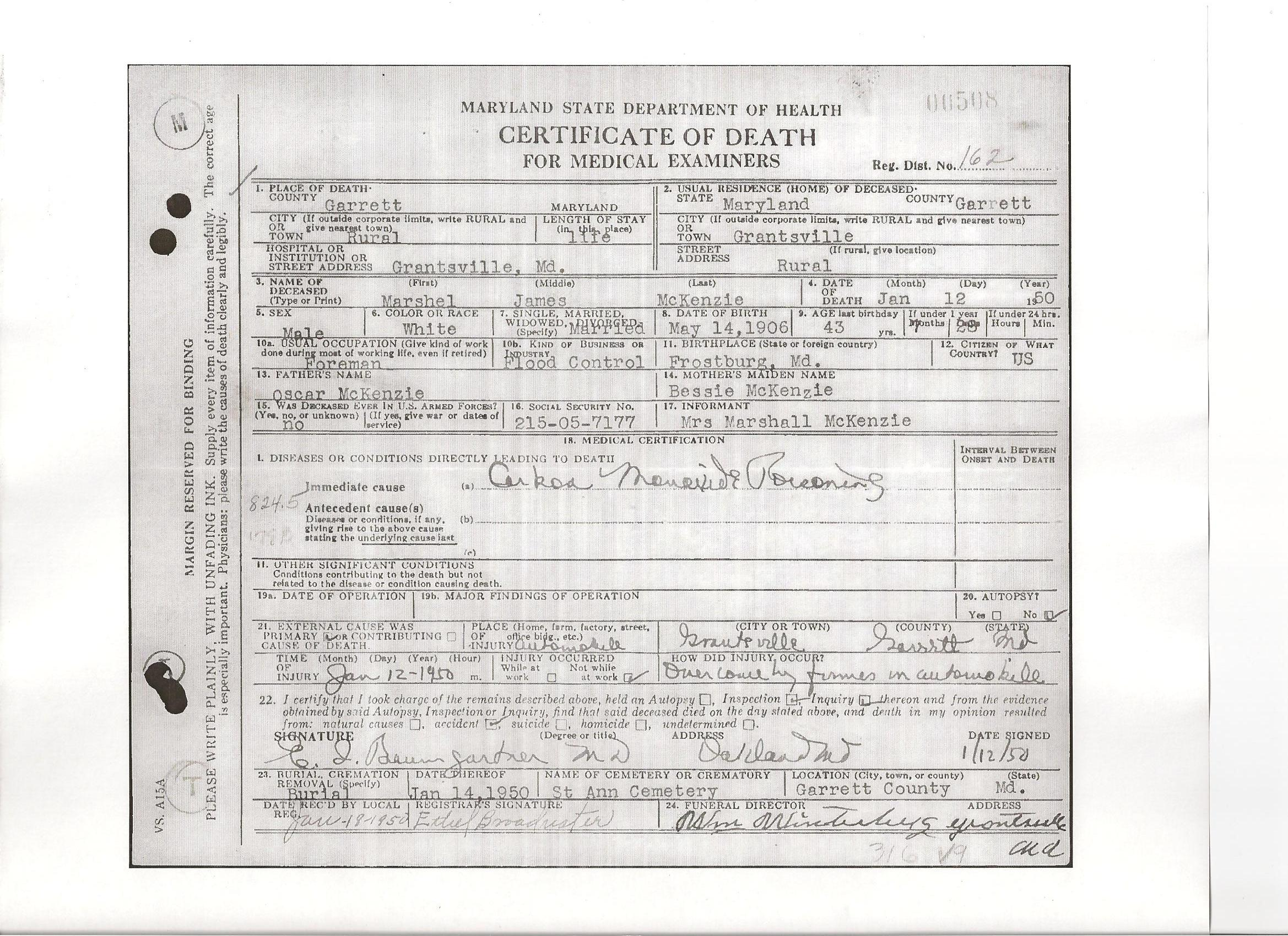 Documents Death Certificate Of Marshall James Mckenzie B 1906