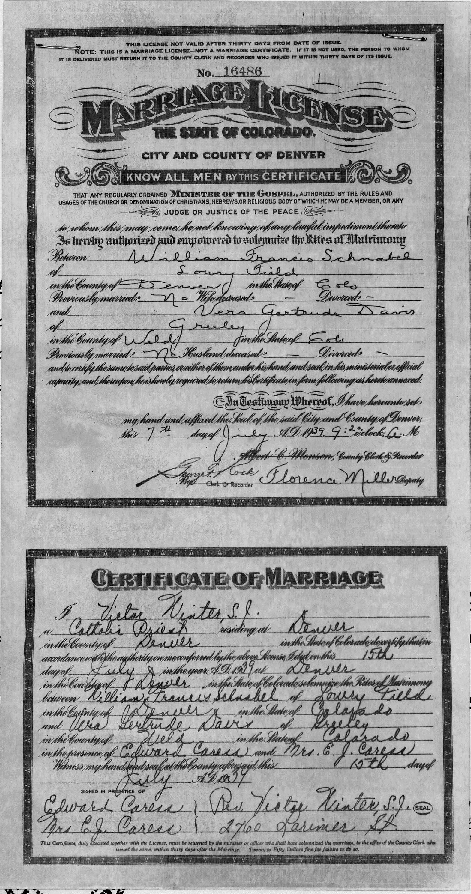 Documents Marriage Certificate Of William Francis Schnabel And Vera